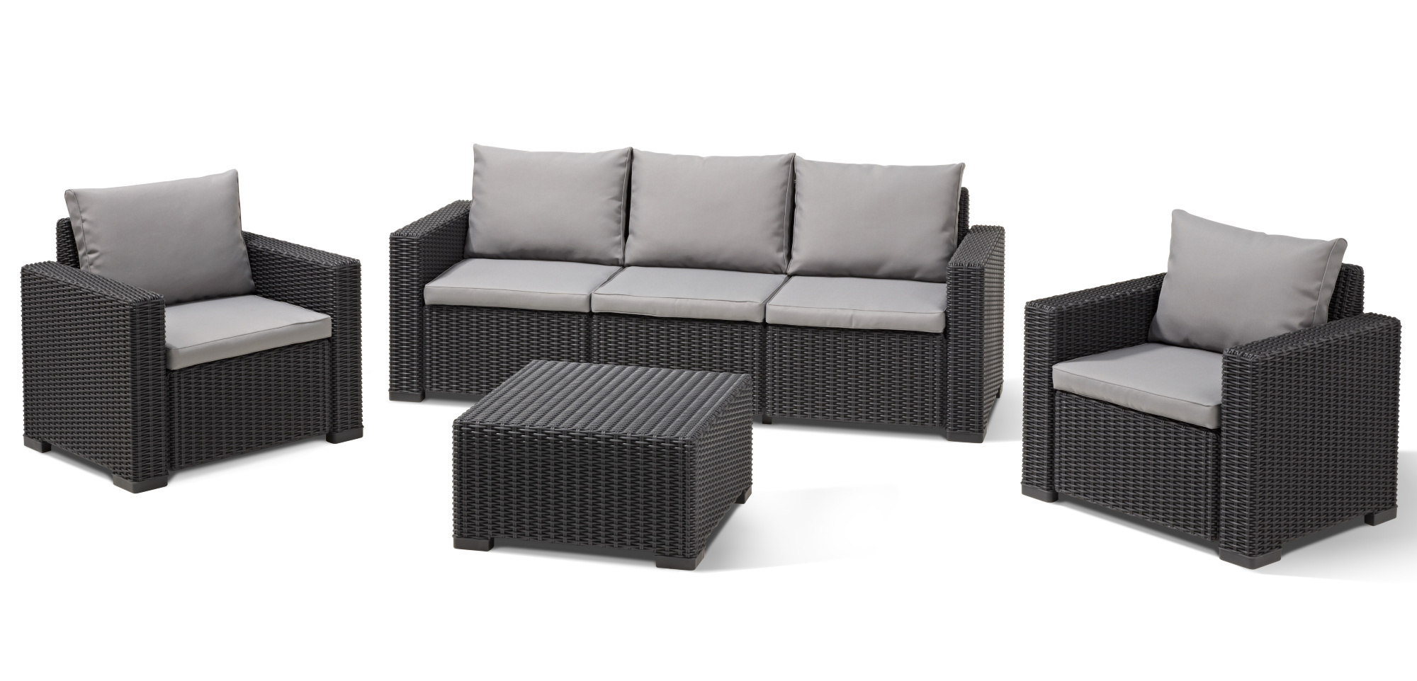 Nauhuricom Rattan Lounge Set Grau Neuesten Design