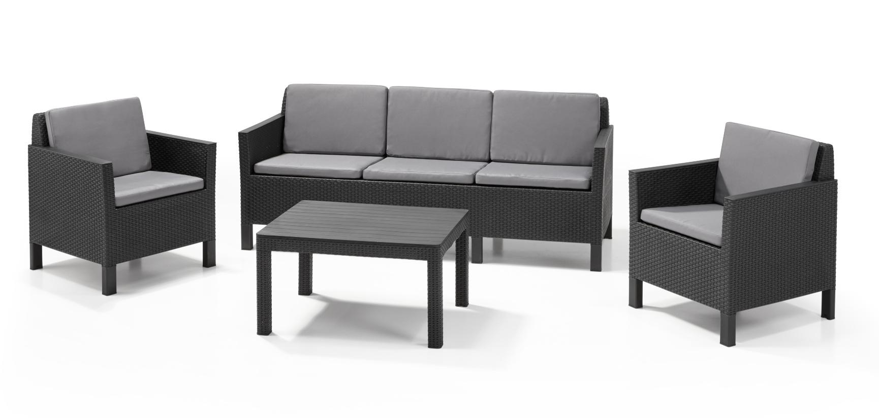 allibert chicago lounge set graphite three seater allibert. Black Bedroom Furniture Sets. Home Design Ideas