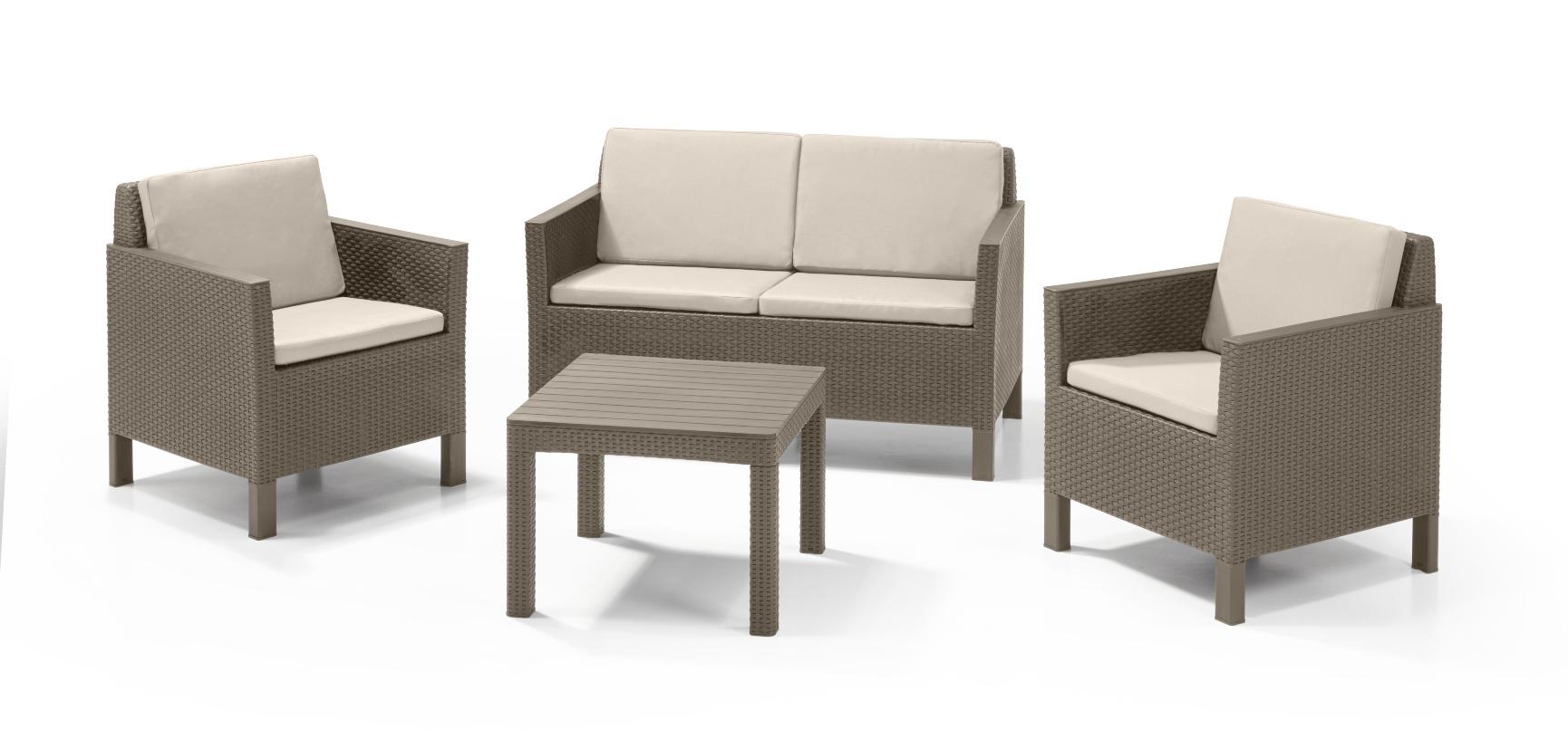 allibert chicago lounge set cappuccino zweisitzer sofa allibert. Black Bedroom Furniture Sets. Home Design Ideas