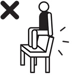 dont sit on backrest UITGESNEDEN